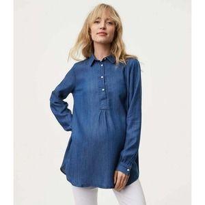 LOFT The Softened Shirt Maternity Chambray Tunic